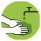 mãos embaixo da torneira sob água corrente